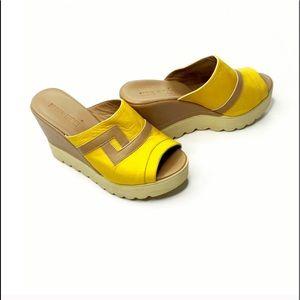Duno Ricci Mustard Yellow Tan Platform Wedge Mules